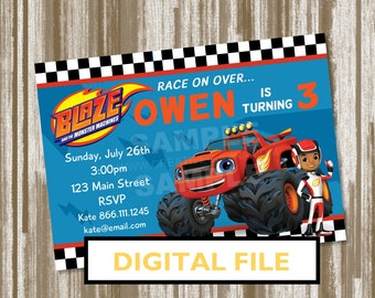Blaze and the Monster Machines Birthday Party Invitation--PERSONALIZED DIGITAL FILE