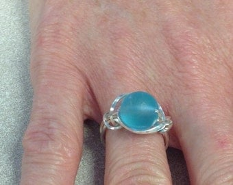 Sea glass ring in sterling silver
