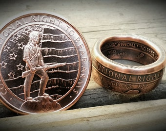 Second Amendment 1oz .999 Pure Copper Coin Ring