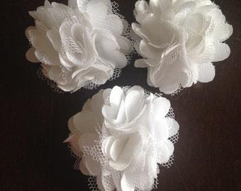"Mini Satin and Tulle Puffs, 2"" Satin Mesh Flower, White Satin Flower, Wholesale Flower, Boutique Supplies, DIY Headband"