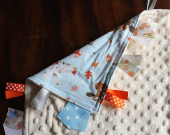 Personalized Tag Minky Sensory Ribbon Blanket Lovey-Forest Animals