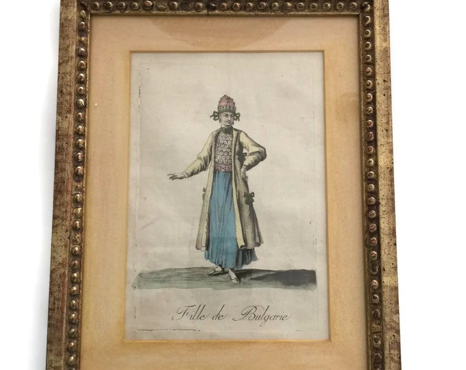 French Art Print, Vintage Etching, Hand Colored Mezzotint, Antique Art Print