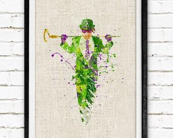 Batman The Riddler Print, Superhero Watercolor Art Poster, DC Comics, Watercolor Painting, Wall Art Home Decor, Nursery Decor, Baby Gift, 46