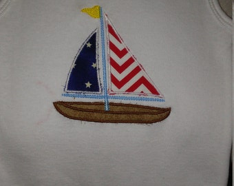 Embroidered American Sailboat Onesie
