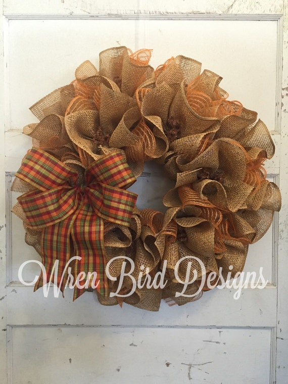 Burlap Wreath Deco Mesh Wreath Ruffled Wreath Fall