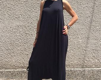 Overalls Black Cotton Jumsuit, Plus Size Jumpsuit, Oversize Drop Crotch Harem Pants, Loose Maxi Dress by SSDfashion