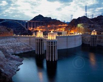 Photo: Hoover Dam Waterscape, Blue and Orange colors, Nevada, Night scene, Wall Decor Photo, Fine Art Photography Print [blu]