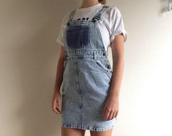 Vintage Acid Wash Denim Overall Dress Size Medium