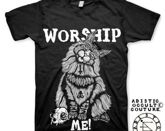 CAT (Worship me) black Tee