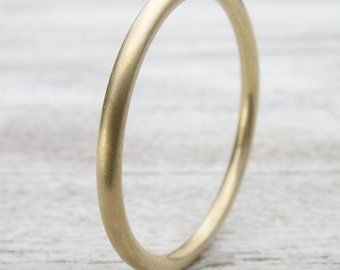 Slim Matte Gold Wedding Band - 1.5mm Halo Ring - Eco Friendly 18k Yellow, Rose or White Gold - Handmade to Size