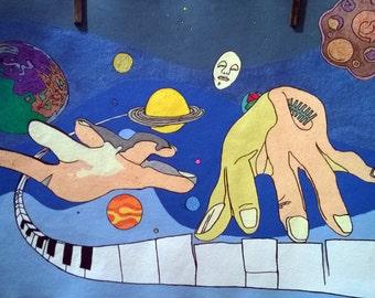 Original Signed Drawing Marco Graziotti - RA - Acrilic on handmade paper 62x47 Psychedelic SUN RA Jazz