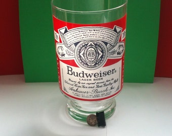 "Giant 30 oz. BUD Beer glass  6.75""x 3.75"" clear glass Budweiser label"