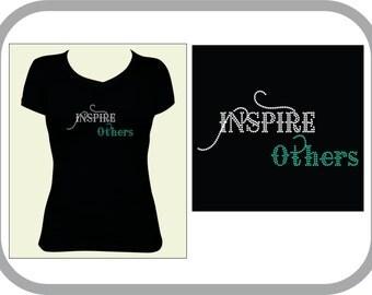 "BLING RHINESTONE Inspire Others T-Shirt "" Make a Statement"" Spangle Rhinestones"