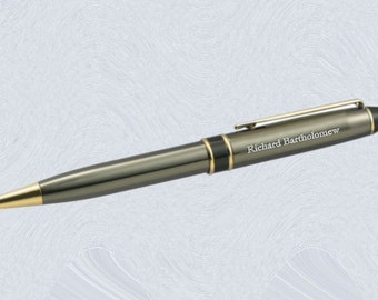 Personalized Engraved Ballpoint Pen custom engraved Gunmetal IIIIB for groomsmen, father, graduation, executive gifts
