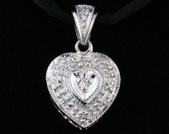Designer Signed Natural Diamond 10K White Gold Heart Pendant,