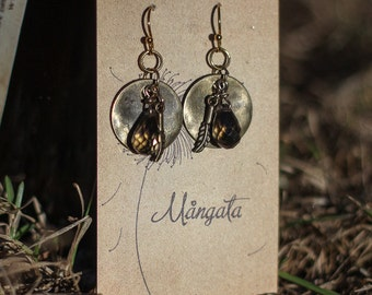 Brass Feather and Swarovski Crystal Vintage Style Earrings