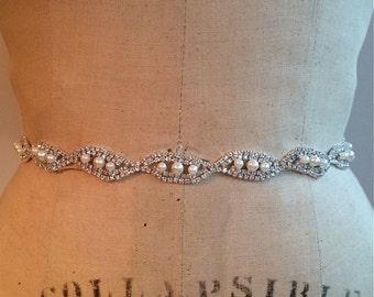 Pearl Bridal Sash-Pearl Bridal Belt-Bridesmaid Belt Pearl-Bridesmaid Sash Pearl-Pearl Rhinestone Wedding Sash Belt-Beaded Wedding Belt Sash