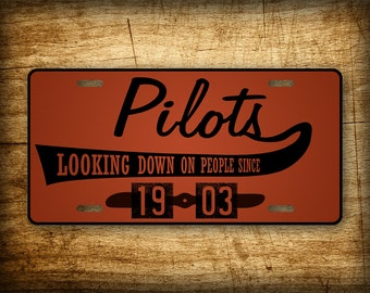 Pilot License Plate ~GIFT~ Retro vintage styled auto tag available in BROWN or PINK. Aviation aircraft airline pilot theme!