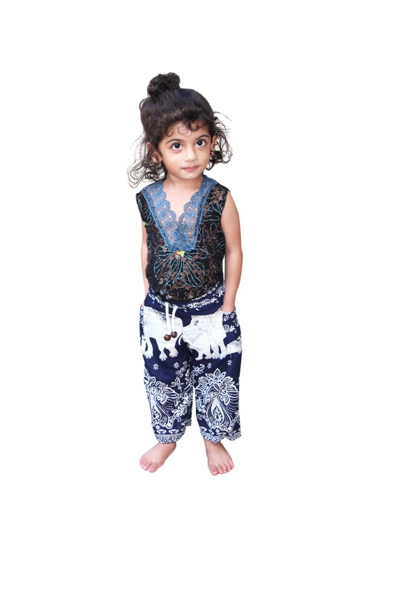 Kids Harem Pants Navy Blue Elephant Trousers Rayon Comfortable Pajamas Toddler Childrens Pants