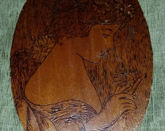 Victorian Treen Pyrography Folk Arts and Crafts Art Nouveau Gibson Girl Style Hand Made Wooden Oval Wall Hanging Plaque