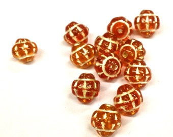 12 Pieces of Orange/ Hyacinth Vintage Etched Glass Beads