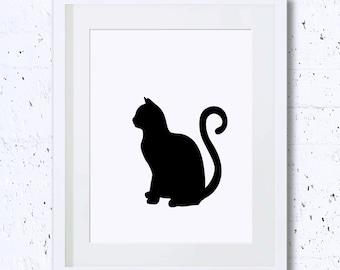 Art deco cat etsy for Minimal art silhouette