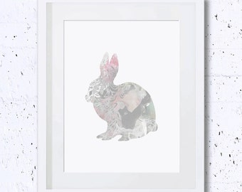 Rabbit Print, Grey, Rabbit Silhouette, Rabbit Art Print, Nursery Rabbit Print, Printable Art, Downloadable Print, Wall Print