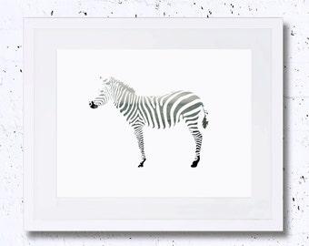 Zebra, Landscape, Zebra Print, Zebra Silhouette, Nursery Animal Print, Printable Art, Downloadable Print, Wall Print