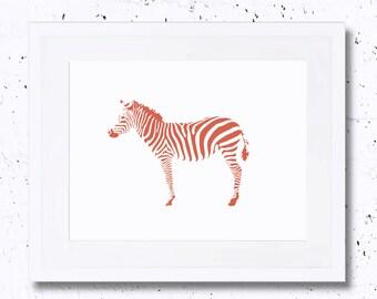 Zebra, Landscape, Zebra Print, Zebra Silhouette, Nursery Animal Print, Printable Art, Downloadable Print, Wall Decor, Vintage