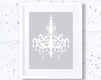 Chandelier, Silver, Art Print, Printable Art, Downloadable, Wall Print, Minimal Art, Minimalist Art, Modern Art, Faminine Print, Home Decor
