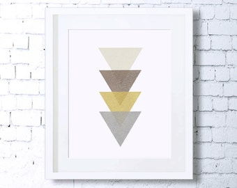 Minimalist Art,Monochrome Art,Triangles,Gold,Geometry,Abstract,Art Print,Printable Art,Downloadable,Gold and Silver,Home Decor,Minimal art