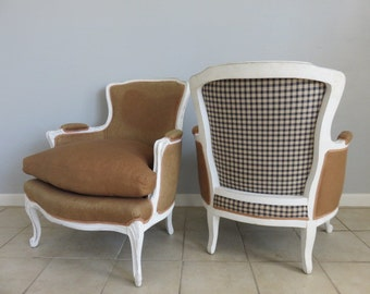 Pair Of Hollywood Regency Bergere Lounge Chairs With Down Filled Cushions.