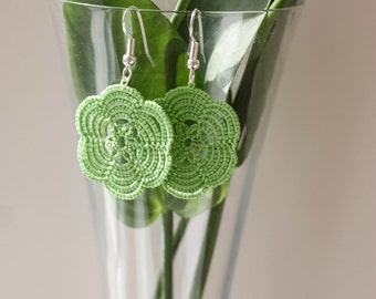 Handmade tatted earrings made of Lime cotton thread