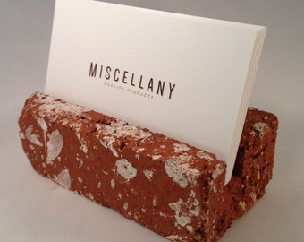 Business Card Holder - Used Red Brick - Office Desk Home - Great Gift