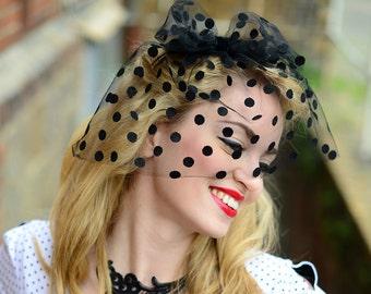 Fascinator Veiling Veil Black Polka Dot Birdcage Vintage 50ies Style Hat headpiece - Point Noir