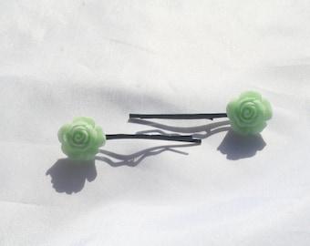 Green flower bobby pins- flower green bobby pins- hair accessories-flower bobby pins-rose hair accessories