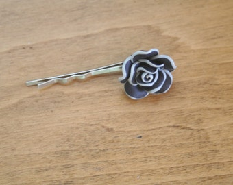 black & white flower bobby pins-flower bobby pin-bobby pins