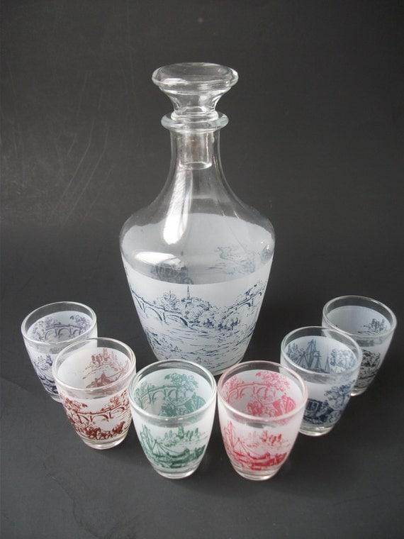 carafe and shot glasses liqueur service decanter by kapharnaum. Black Bedroom Furniture Sets. Home Design Ideas
