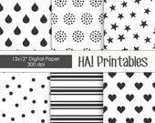 Printable Digital Paper: Stars, Rain Drops, Hearts, Polka Dots, Confetti, Stripes, Black and White, Pattern, Scrapbooking Paper