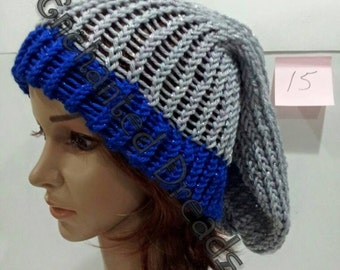Sparkling Blue Rimmed Grey Slouchy Hats