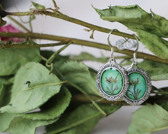 Earrings with Real Dried Flower and Sterling Silver Hook (Free Shipping)