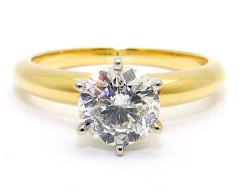 18k Yellow Gold Natural Round Cut 1.15ct Diamond Solitaire Engagement Ring EGL