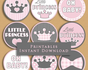 Little Princess Baby Shower Cupcake Toppers Party Printables Pink and Gray Princess DIY Printable INSTANT DOWNLOAD  PR01