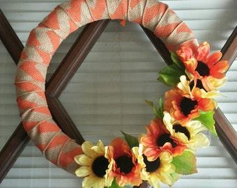 Orange and yellow sunset wreath