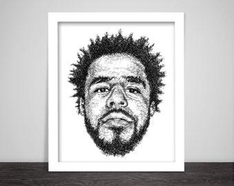 Scribbled J.Cole - Hip Hop Poster