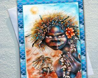 """FRILLED neck lizard card,AUSTRALIAN indigenous women,Lizard,Frilled neck lizard, ecofriendly,sustainable card,4.13"""" x 5.82"""""""