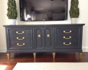"""SOLD! The """"Grayson"""" Vintage Hand Painted Dresser Console Buffet"""