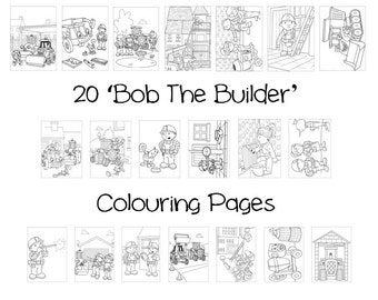 BOB THE BUILDER -  Colouring Book Pack - 20 x A4 Sheets ! (Rainy Day/ Holiday Craft for Children)