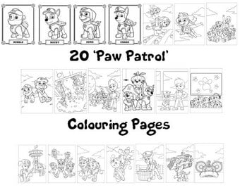 PAW PATROL -  Colouring Book Pack - 20 x A4 Sheets !  (Rainy Day/ Holiday Craft for Children)