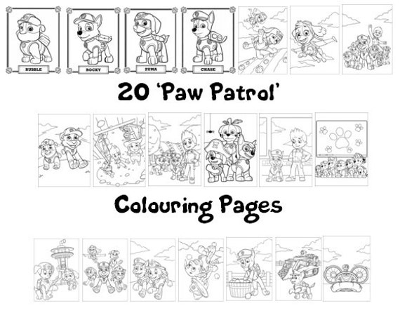 Paw Patrol Coloring Pages A4 : Paw patrol colouring book pack a sheets rainy